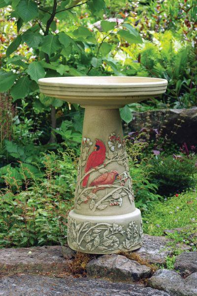 Summer Cardinal Bird Bath Set (Lock-On Top)