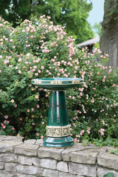 Zanesville Juniper Green Glazed Bird Bath (Lock-On Top)