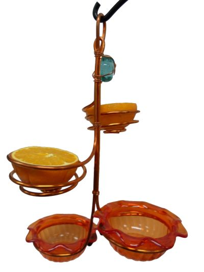 Copper Feeder with Double Cup and Double Fruit Holder | Birds Choice #CDCDF-ORANGE