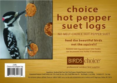 Choice Hot Pepper Suet Logs (4) 3 oz.logs