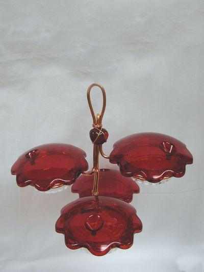 Copper Quad Cup Hummingbird Feeder | Birds Choice #CQC-RED