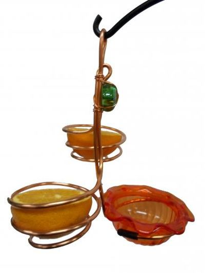 Copper Feeder with Single Cup and Double Fruit Holder | Birds Choice #CSCDF-ORANGE