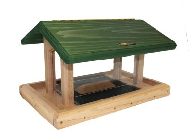 Natural Cedar Hopper Feeder, Seed Catcher, Pole System w/ Squirrel Baffle #12 Combo Birds Choice