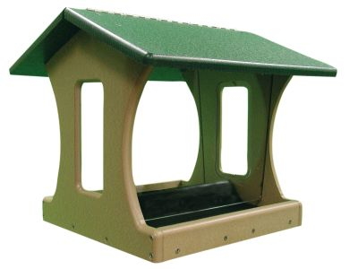4 Gallon 4-Sided Hopper Bird Feeder-Green Roof | Birds Choice #SN400