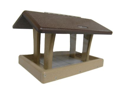 Hopper Feeder (Brown Roof), Seed Catcher and Pole System w/ Squirrel Baffle Combo #2