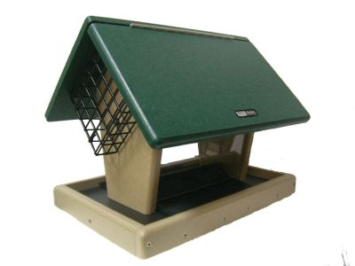 7 Qt. 2-Sided  Hopper Wild Bird Feeder  with 2 Angled Suet Cages | Birds Choice #SNHFS