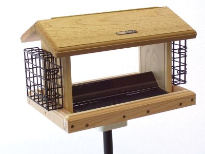 Natural Cedar Hopper Feeder, Seed Catcher, Pole System w/ Squirrel Baffle #14 Combo Birds Choice