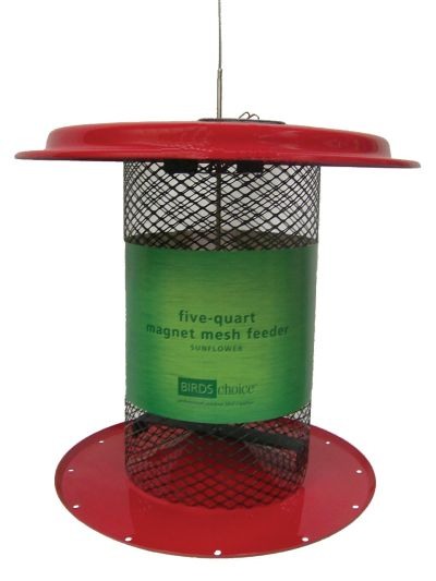Magnet Mesh 5 Quart Sunflower Feeder - Red Top and Bottom | Birds Choice #XCD82